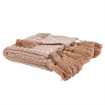 Plaid en coton beige motifs à rayures tissés écrues 140x180