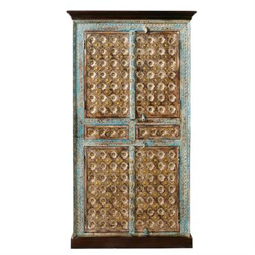 Armoire 2 portes en manguier massif et métal Chenoa