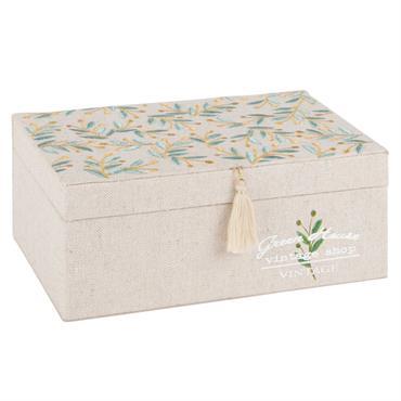 Boîte à bijoux brodée motif floral