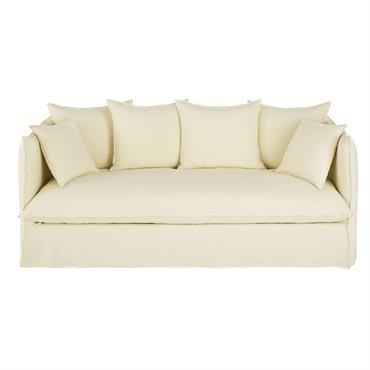 Canapé 3/4 places en lin épais ivoire effet vieilli Louvre