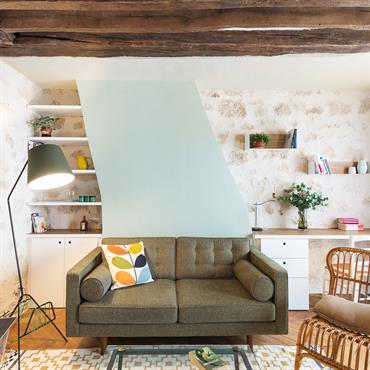 Décoration de l'espace salon, cuisine et couloir d'un appartement 2 pièces dans le 9ème arrondissement. J'ai respecté la volonté de ... Domozoom