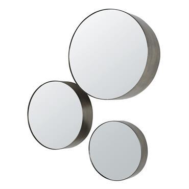 Miroirs ronds en métal effet vieilli