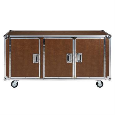 Buffet à roulettes 3 portes en textile enduit camel et métal Cinéma