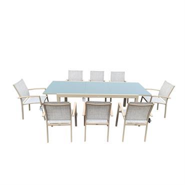 Table de jardin 8 personnes en verre et aluminium champagne