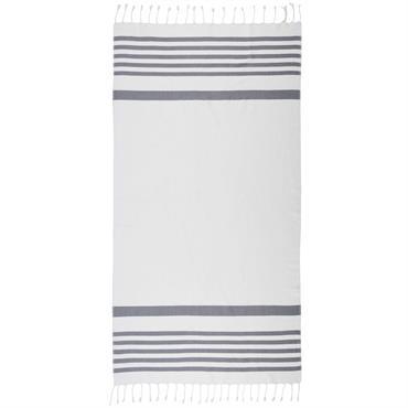 Fouta en coton rayé gris et blanc 100x200 RIVAGE