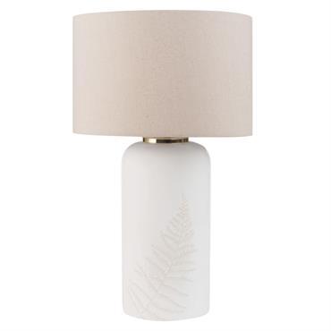 Lampe à poser en céramique blanche et abat-jour écru
