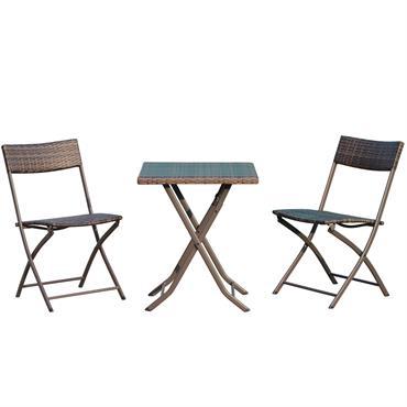 Ensemble meubles jardin table chaises pliables résine tressée marron