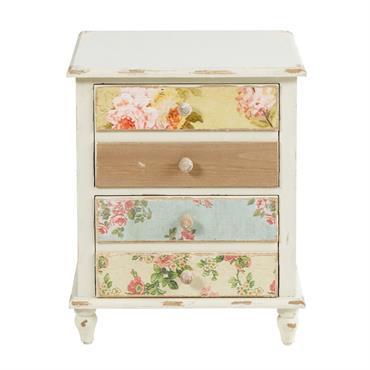 Table de chevet 2 tiroirs blanche à motifs Flora