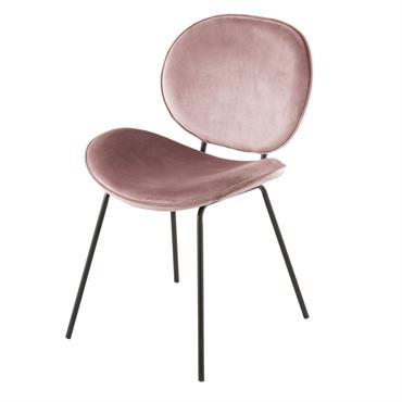 Chaise en velours rose et métal noir Luna