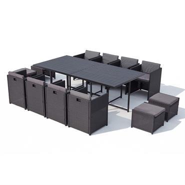 Table et chaise 12 places encastrables alu résine noir/gris