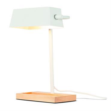 Lampe de bureau bois/métal blanc H40cm