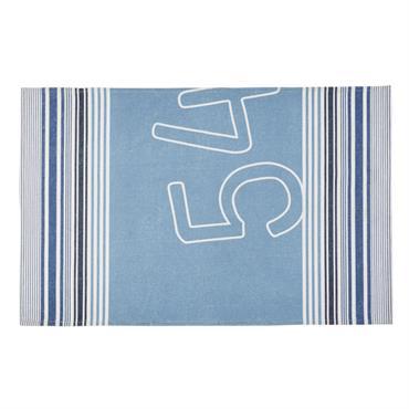 Tapis d'extérieur motifs graphiques bleus et beiges 160x230
