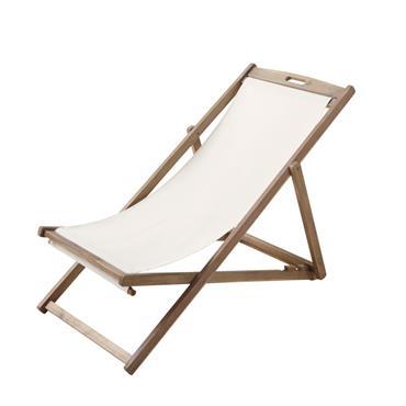 Chaise longue / chilienne pliante écrue en acacia massif Panama
