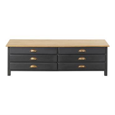 Meuble TV 2 portes 2 tiroirs en manguier gris ardoise Cezanne