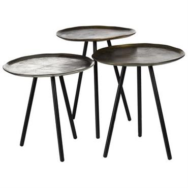 Tables gigognes Skippy / Set de 3 - Nickel & laiton