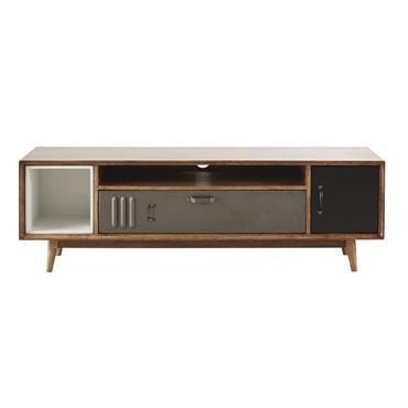 Meuble TV indus 2 portes en manguier et métal