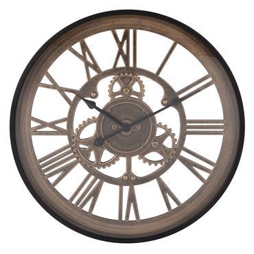 Horloge rouages noire et marron D46