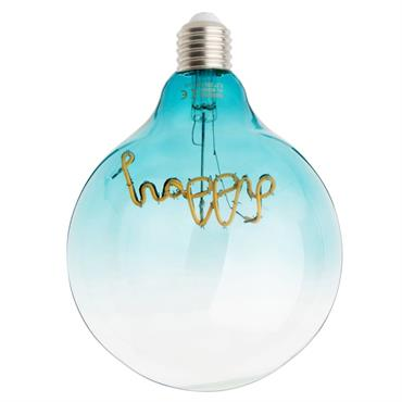 Ampoule LED message happy en verre