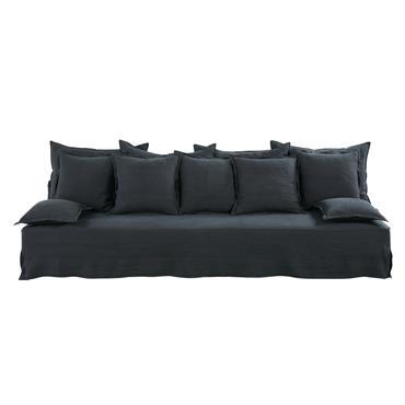 Canapé 4 places en lin gris charbon Alberto