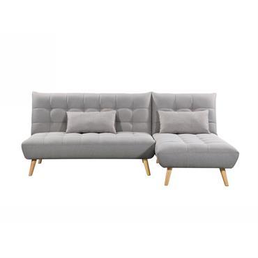 Canapé d'angle scandinave 3 places réversible convertible - gris clair