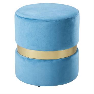 Tabouret en velours bleu et métal doré