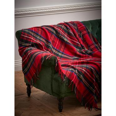 Plaid tissé tartan laine majoritaire ecossais rouge
