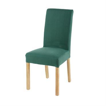 Housse de chaise en lin vert basilic