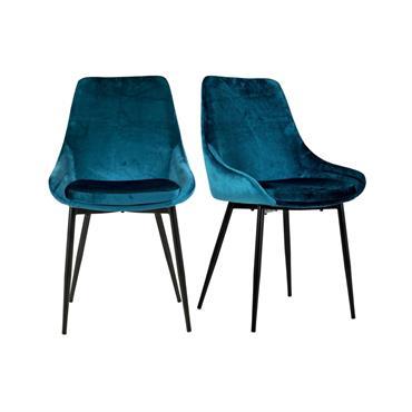 Lot de 2 chaises design velours côtelé Bleu Ciel