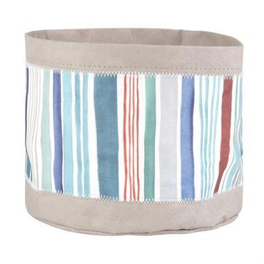 Corbeille à pain en papier gris et bleu à motifs