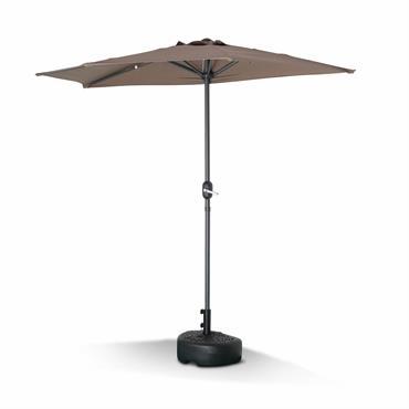 Demi parasol de balcon droit mât en aluminium toile taupe D250cm