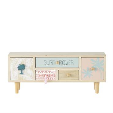 Boîte 5 tiroirs à motifs rose et bleu