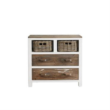 Commode 2 tiroirs 2 niches en pin recyclé