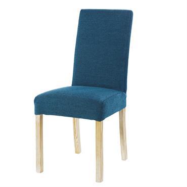 Housse de chaise en velours bleu paon