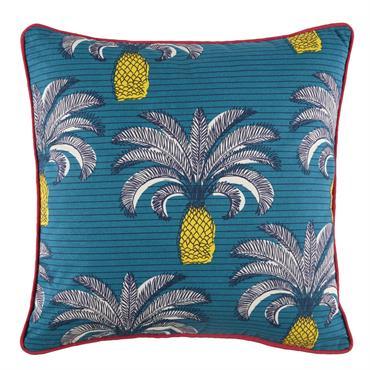 Coussin d'extérieur en coton bleu imprimé palmiers 45x45