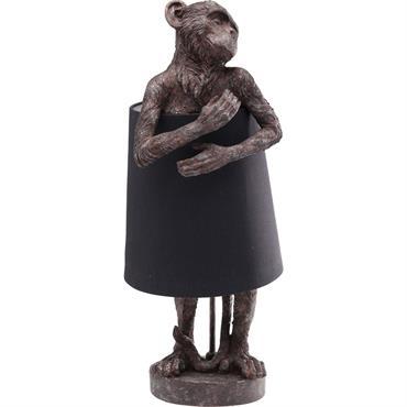 Lampe singe marron en polyrésine et abat-jour en lin