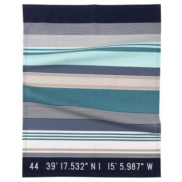 Torchon en coton motif à rayures bleues et grises 50x70