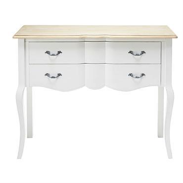 Console 2 tiroirs en pin blanc et paulownia Emilie