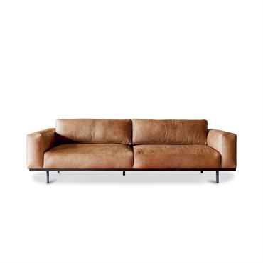 Canapé 3 places en cuir marron
