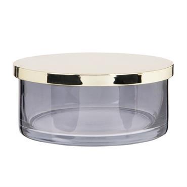 Boîte ronde en verre gris fumé et couvercle doré