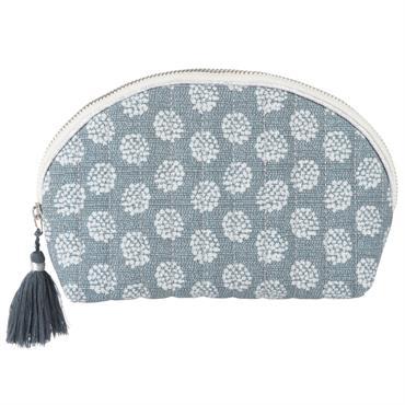 Trousse en coton bleu gris à motifs