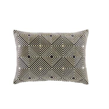 Coussin en coton noir motifs graphiques dorés 35x50