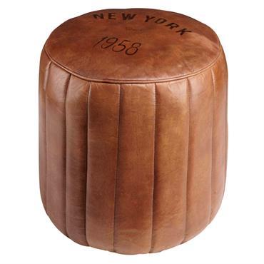 Pouf rond en cuir marron
