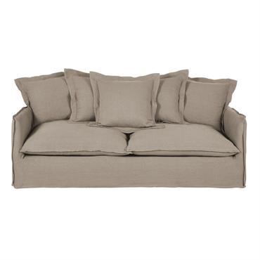 Canapé-lit 3/4 places en lin épais beige ficelle