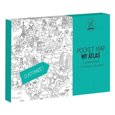 Poster à colorier Pocket Map - Atlas / 52 x 38 cm