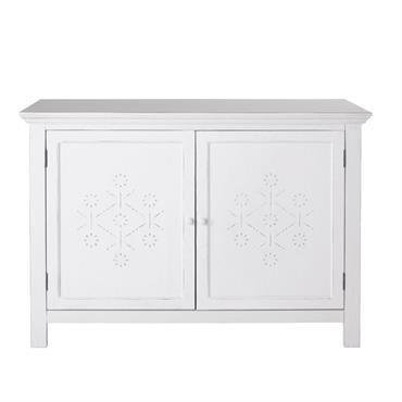 Buffet 2 portes en sapin blanc décor en relief Bianca