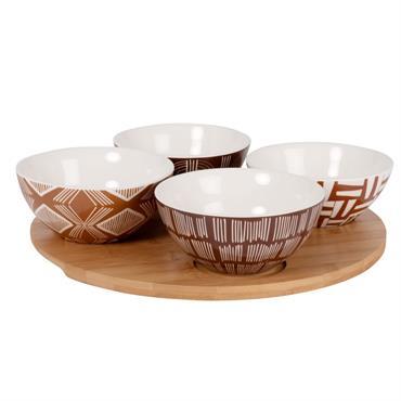 Plateau apéritif en bambou et 4 bols en grès multicolore imprimé