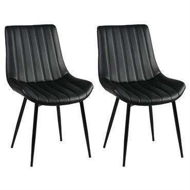 Lot de 2 Chaises Noires Métal et PVC
