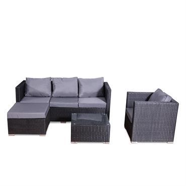 Salon de jardin 6 places en résine tressée noir et gris