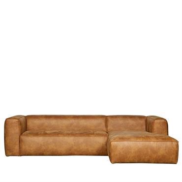 Canapé d'angle droit cognac