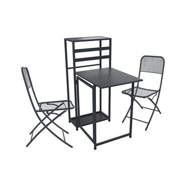 Ensemble table de balcon pliable avec 2 chaises en métal gris